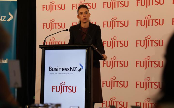 Jacinda Ardern making a pre-Budget speech to Business NZ in Auckland.