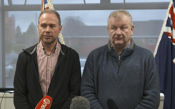Ashburton Council chief executive Hamish Riach and mayor Neil Brown give an update on the flooding.