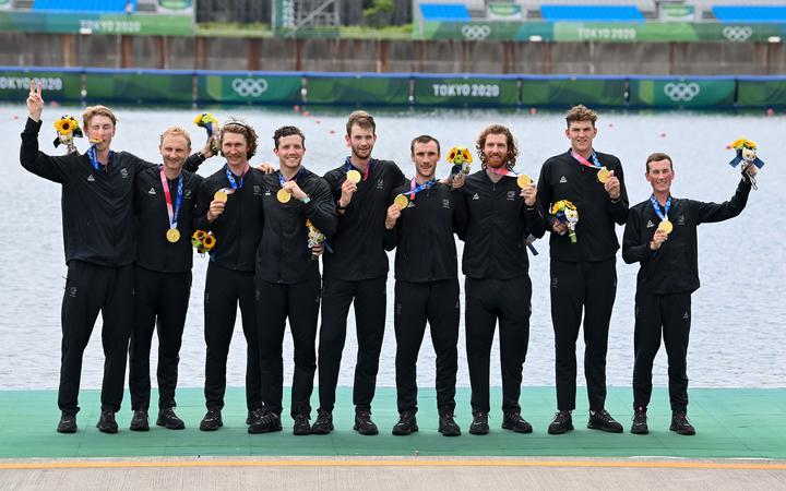 Gold medalists New Zealand Men's eight; Matt Macdonald (stroke), Shaun Kirkham, Phillip Wilson, Dan Williamson, Michael Brake, Tom Murray, Hamish Bond, Tom Mackintosh (bow) and Sam Bosworth (coxswain). Tokyo 2020 Olympic Games Rowing, Tokyo, Japan on Friday 30th July 2021.