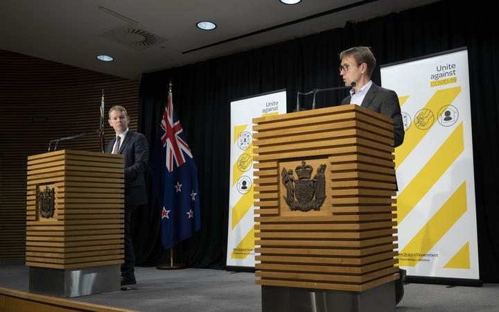 POOL - Covid-19 Response Minister Chris Hipkins, left, and Director General of Health Dr Ashley Bloomfield during their Covid-19 and vaccines update at Parliament, Wellington, on day 5 of the alert level 4 lockdown  22 August, 2021  NZ Herald photograph by Mark Mitchell