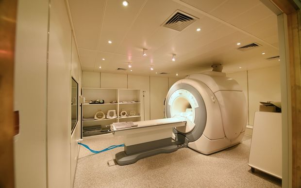 A MRI scanner room in a hospital.