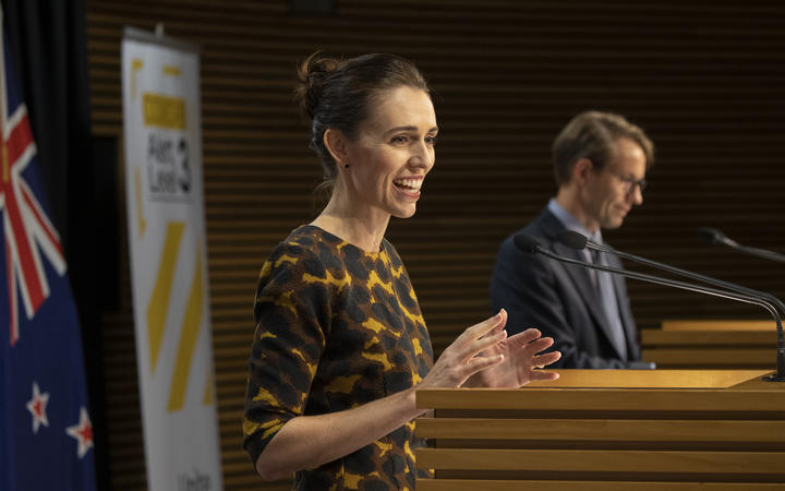 Prime Minister Jacinda Ardern during the media conference with Director General of Health Dr Ashley Bloomfield on 7 May, 2020.