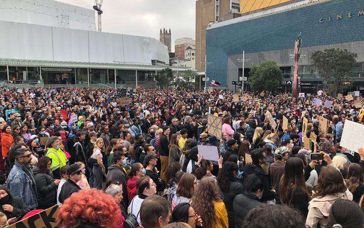 Thousands of people are gathered in Aotea Square.