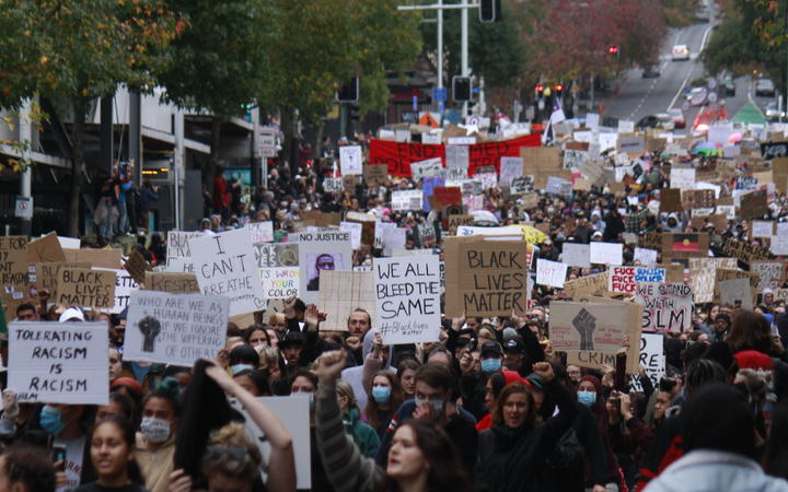 Protesters on Queen Street, Auckland, during the George Floyd / Black Lives Matter Auckland march on 1 June.