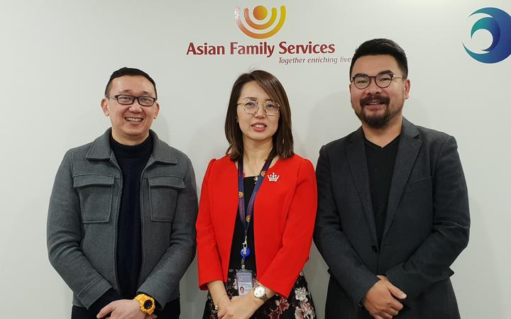 Asian Family Services deputy director Ivan Yeo, national director kelly Feng and Dr Andrew Zhu, director of Trace Research.