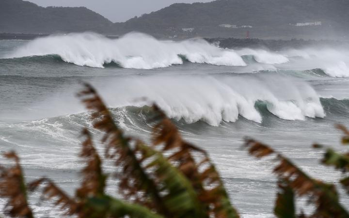 Waves crash on the coast as Typhoon Haishen approaches in Makurazaki, Kagoshima prefecture on September 6, 2020.
