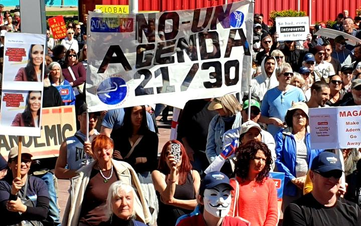 There was little social distancing observed among those who attended a protest organised by the Advance Party against the government's Covid-19 restrictions and lockdowns on 12 September, 2020.