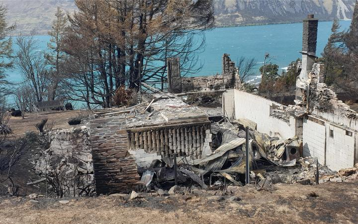 A house burnt to the ground in Lake Ohau village.