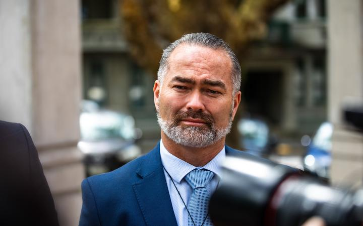 Advance NZ co-leader Billy Te Kahika outside the High Court at Auckland.