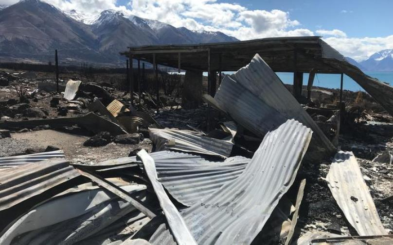 The framework is all that remains of this Lake Ōhau Village home.