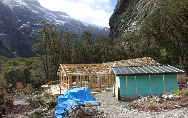 The new Mintaro Hut on the Milford Track under construction
