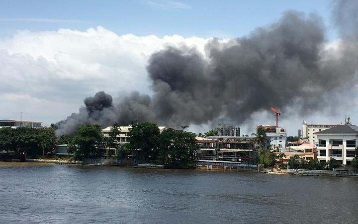 A general view of smoke arising from the Ikoyi prison that is on fire in Lagos on October 22, 2020.