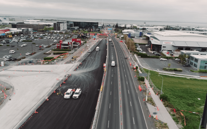 Auckland Airport is undertaking work to upgrade George Bolt Memorial Drive.
