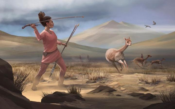 Illustration of female hunter depicting hunters who may have appeared in the Andes 9,000 years ago.