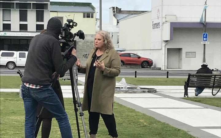 Masterton councillor Tina Nixon is interviewed by TVNZ reporter Whena Owen.