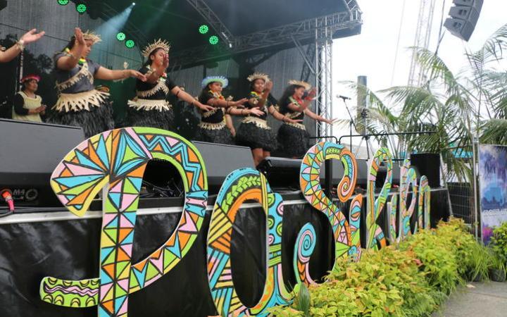 The Kiribati St Joseph Community perform on the main stage at the Wellington Pasifika Festival. 23 January 2021
