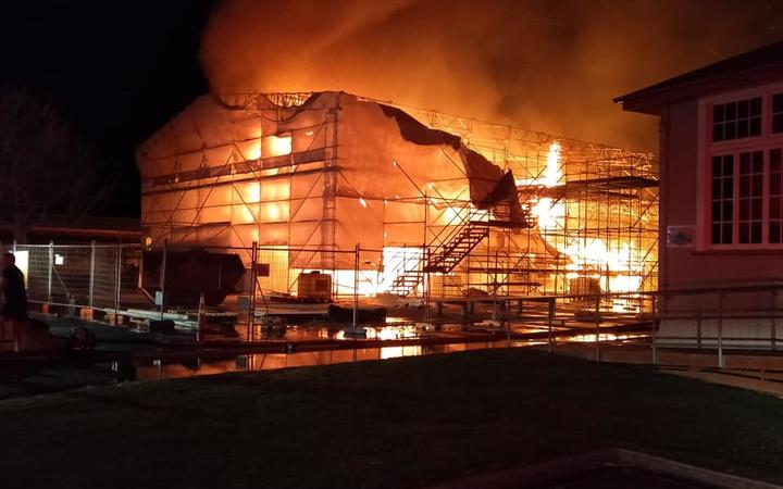 The A Block at Apanui School was well ablaze by the time fire crews arrived.