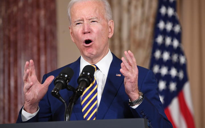 US President Joe Biden speaks about foreign policy at the State Department in Washington, DC, on February 4, 2021.