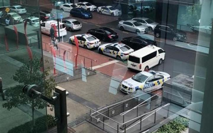 Police cars at the Sofitel in Auckland's Viaduct Harbour.