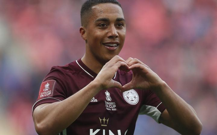 Leicester City's Belgian midfielder Youri Tielemans celebrates scoring his team's first goal during the English FA Cup final football match between Chelsea and Leicester City at Wembley Stadium in north west London on May 15, 2021.