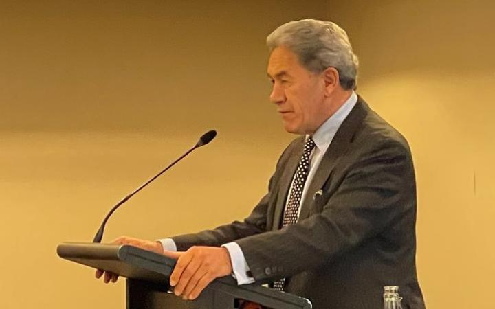 New Zealand First leader Winston Peters speaking at the party's AGM on 20 June, 2021.