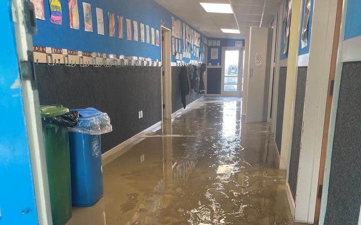 Hatea-a-Rangi School was fill of silt and water this morning after yesterday's floods.