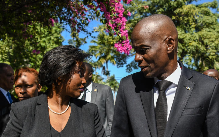 This picture of President of Haiti Jovenel Moïse (R) and first lady Martine Moïse (L) was taken last year for the official ceremony of Haiti's 10th earthquake anniversary in Port-au-Prince.