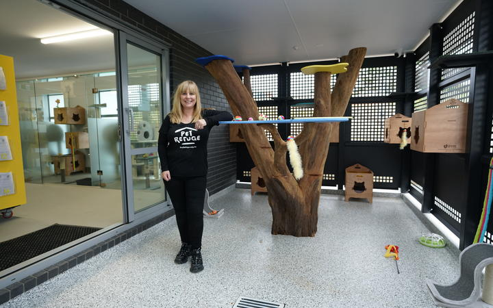 Pet Refuge founder Julie Chapman in one of the rooms at the new facility