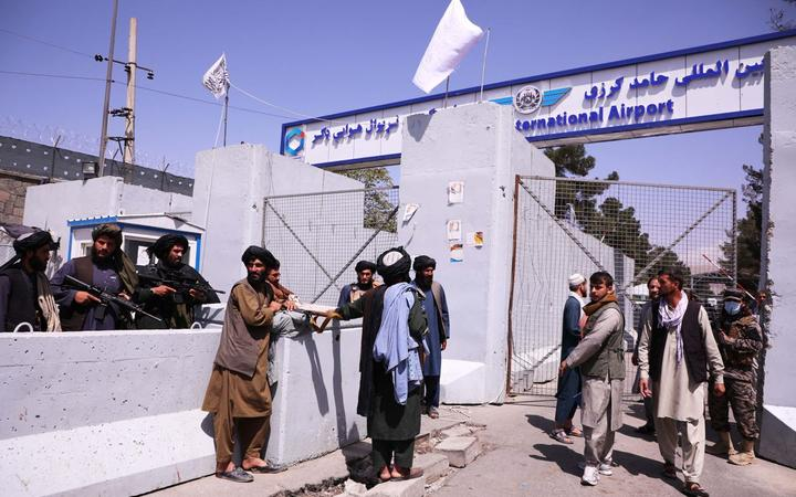 Taliban members set checkpoints around Hamid Karzai International Airport in Afghan capital Kabul on 2 September  2021.