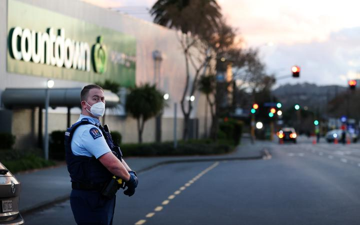 AUCKLAND, NEW ZEALAND - SEPTEMBER 03: Police guard the area around Countdown LynnMall after a violent extremist took out a terrorist attack stabbing six people before being shot by police on September 03, 2021 in Auckland,