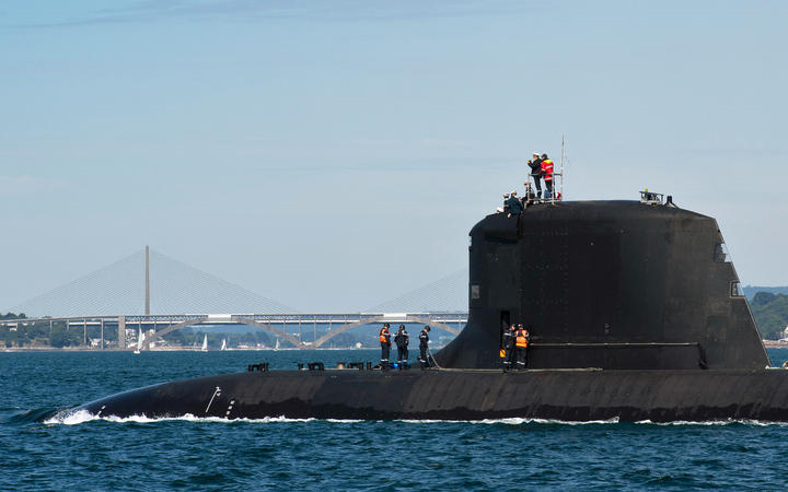 A new Barracuda class nuclear attack submarine, the Suffren, built by French shipbuilder Naval Group, arriving at Brest.