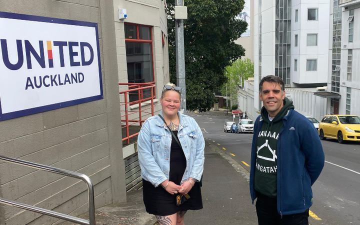 LifeWise's Jamie Akarana and Peter Shimwell outside the youth accommodation facilitiy in Auckland's CBD.