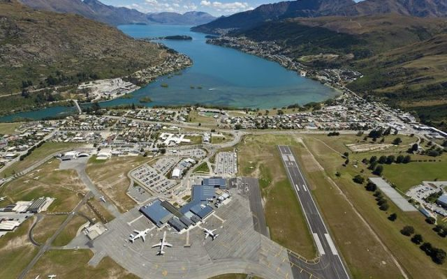 The approach to Queenstown Airport.
