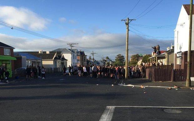 A party on Castle Street, Dunedin, about 8am on Sunday 1 November 2015.