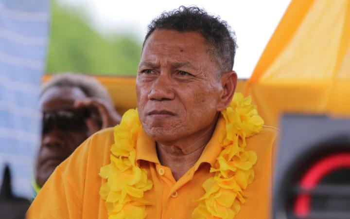 31 March 2019 - Peter Shanel Agovaka awaits his turn to speak at a political rally just days out from the election on 3 April. He was subsequently re-elected for a fourth term as MP for Central Guadalcanal.