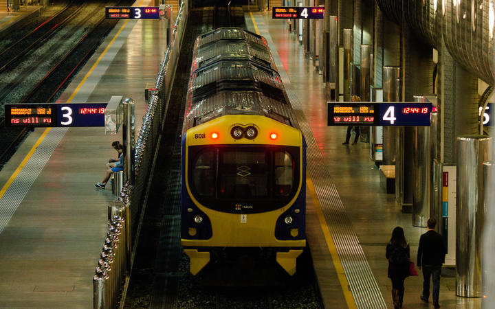 AUCKLAND  - MAY 26:MAXX train at platform in Britomart Transport Centre on May 26 2013.It designed to serve up to 10,500 passengers during the peak hour in its current configuration as a terminus