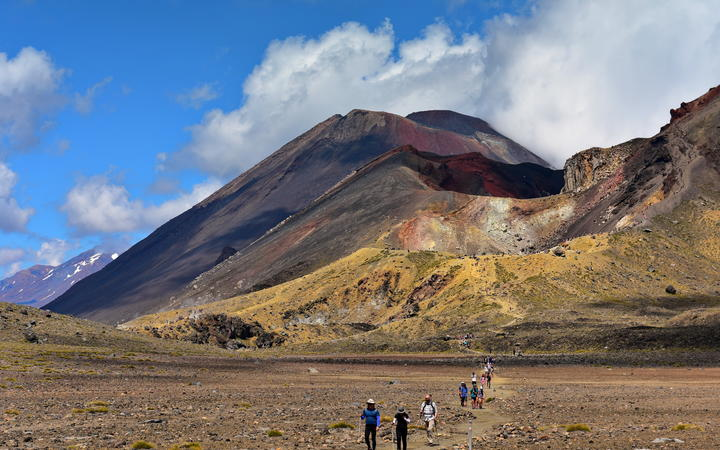 Red crater of Mount Tongariro, an active volcanic vent in New Zealand
