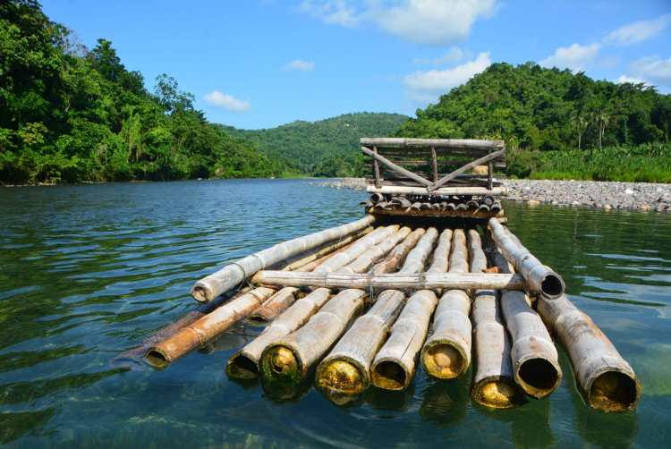 A bamboo raft on the RIo Grande River in Portland, Jamaica.