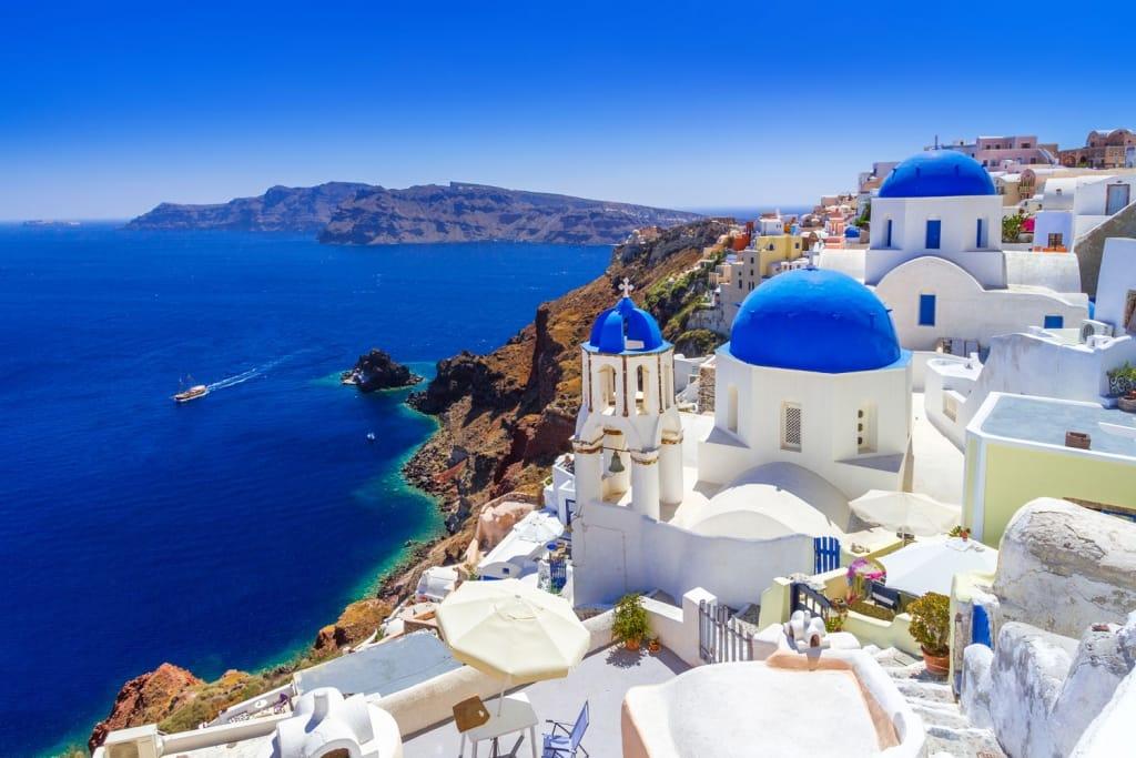 Beautiful Oia Town On Santorini Island Greece