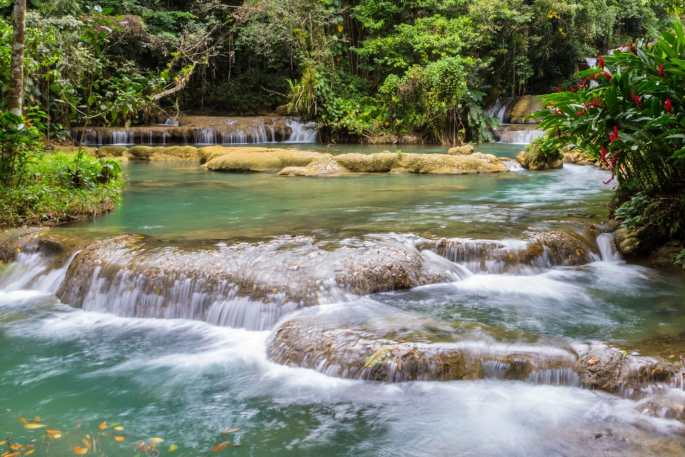 The lower pool from the waterfall at Y S Falls, Jamaica