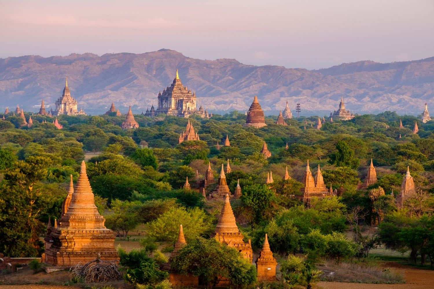 Sunrise landscape view with silhouettes of old temples, Bagan, Myanmar (Burma)