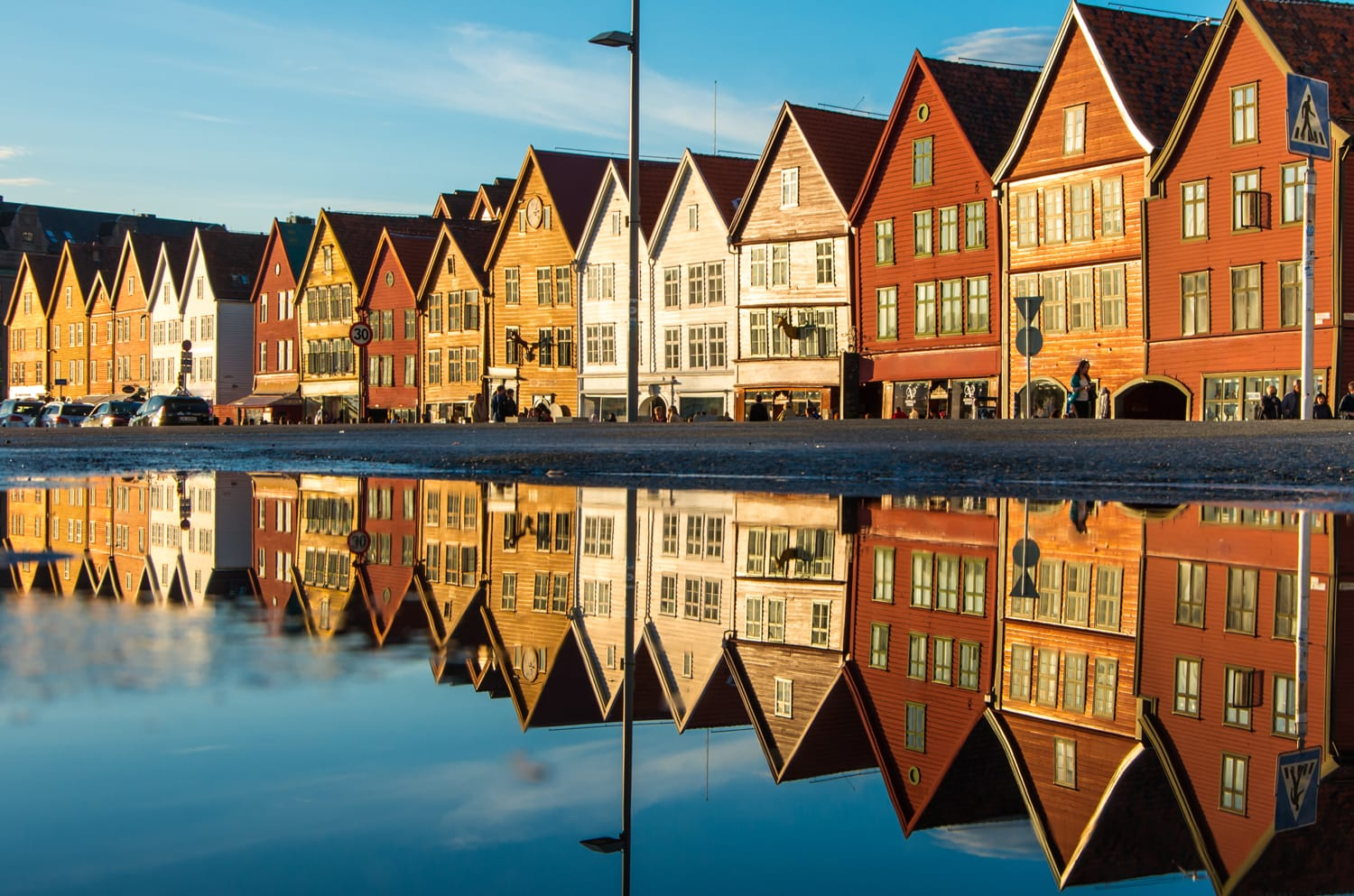 Famous Bryggen street with wooden colored houses in Bergen, Norway, UNESCO world heritage site