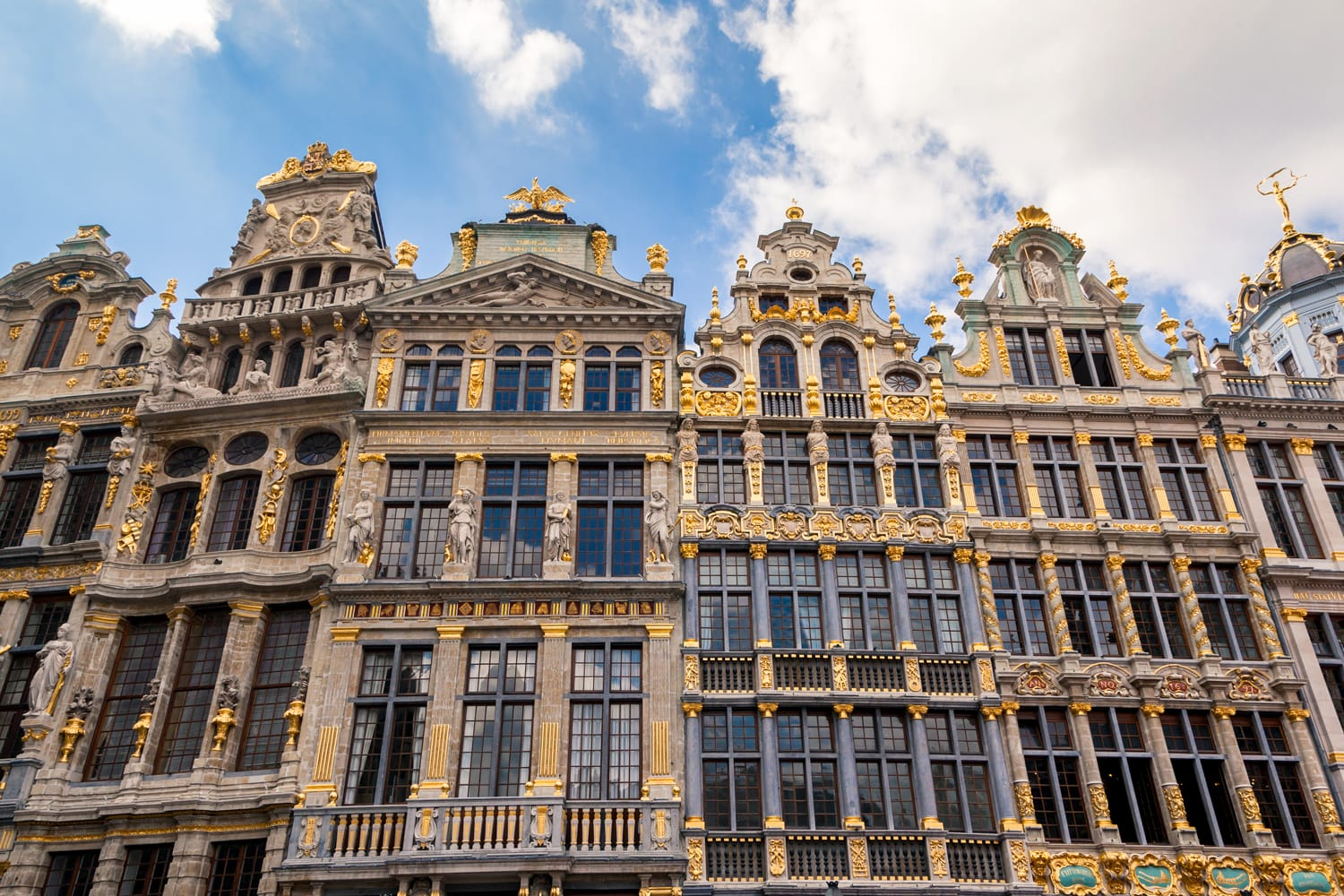 Buildings at the Grand place central square, old town of Brussels, Belgium