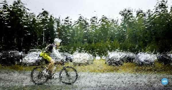 bicyclist in the rain