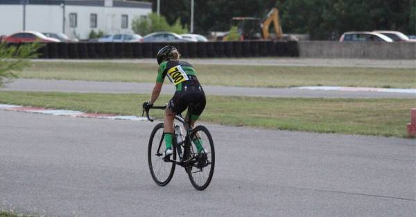 cyclist warming up before a race