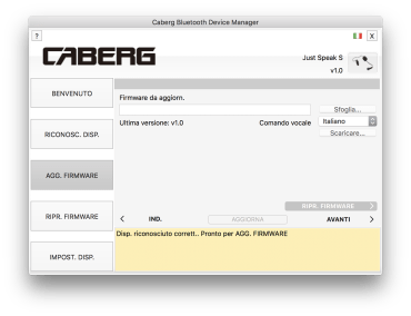 Interfono Just Speak S, il software Caberg Device Manager