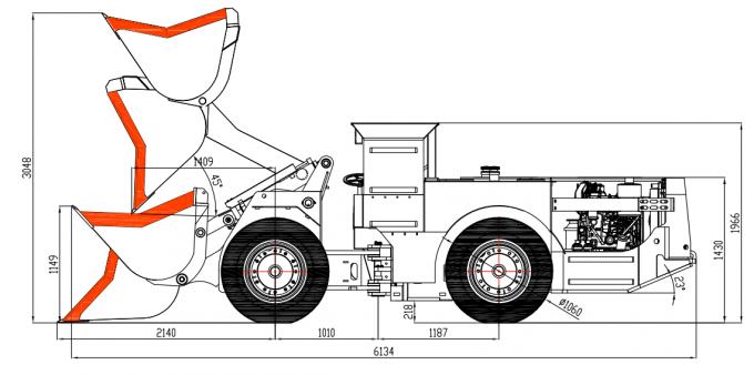 1 CBM Bucket Underground Mining Dump Truck With 2 Ton
