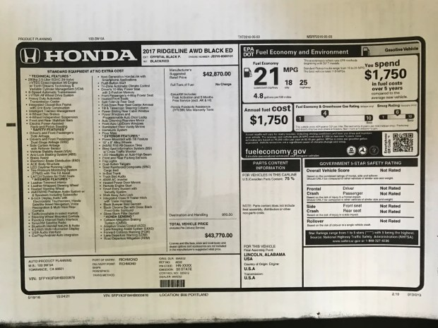 2017 Honda Ridgeline Black Edition Window Sticker