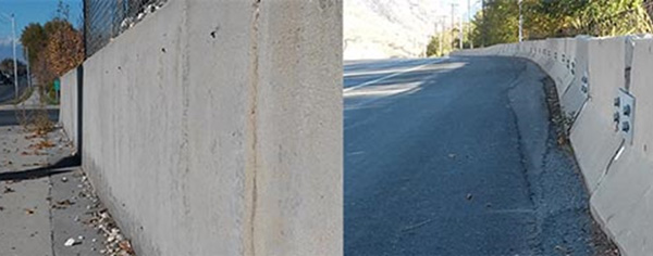 Figure 6 Standard wall vs. Jersey barrier -- A standard wall in Payson, Utah (left) acts as a rigid barrier and may be as dangerous as the object it was designed to prevent a collision with. A Jersey barrier in Provo, Utah (right) has a tapered shape that deflects