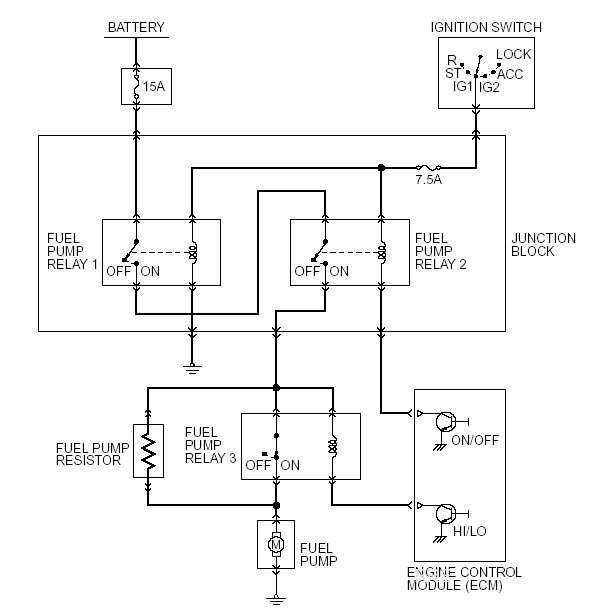 fuel pump relay wiring diagram 3 lights 2 switches rre s evo info
